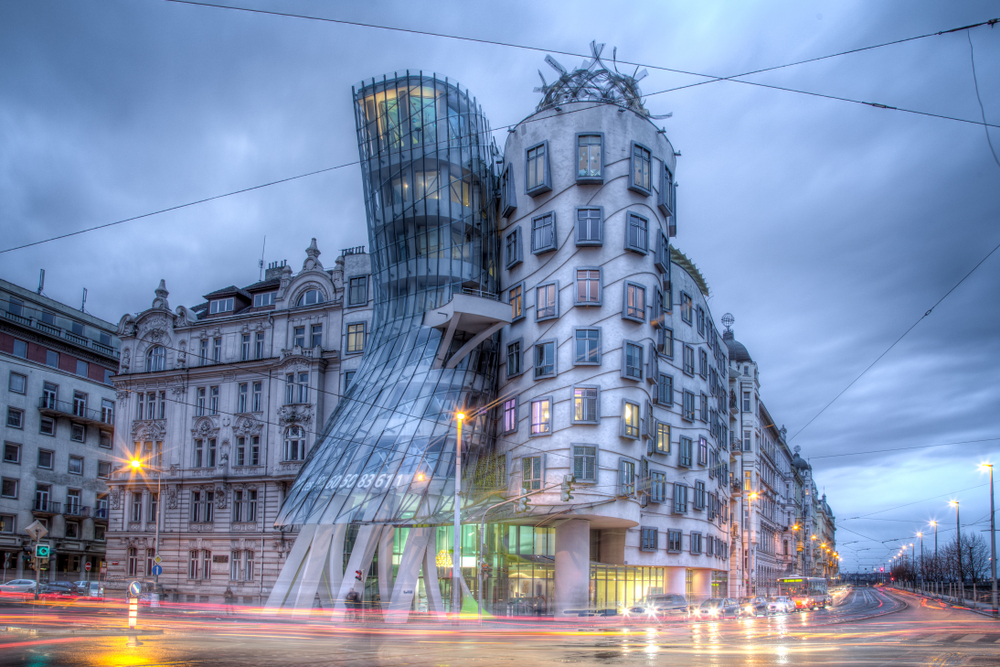 Evening view of the Dancing House
