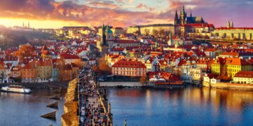 Panoramic view above at Charles Bridge Prague Castle and river Vltava Prague Czech Republic
