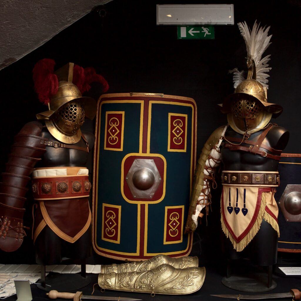 The armour of the Colosseum gladiators o show at the Gladiator Museum in Rome.