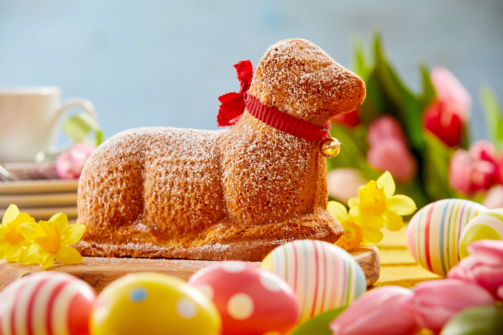 A German 'Easter lamb' cake, with a little bell around its neck.