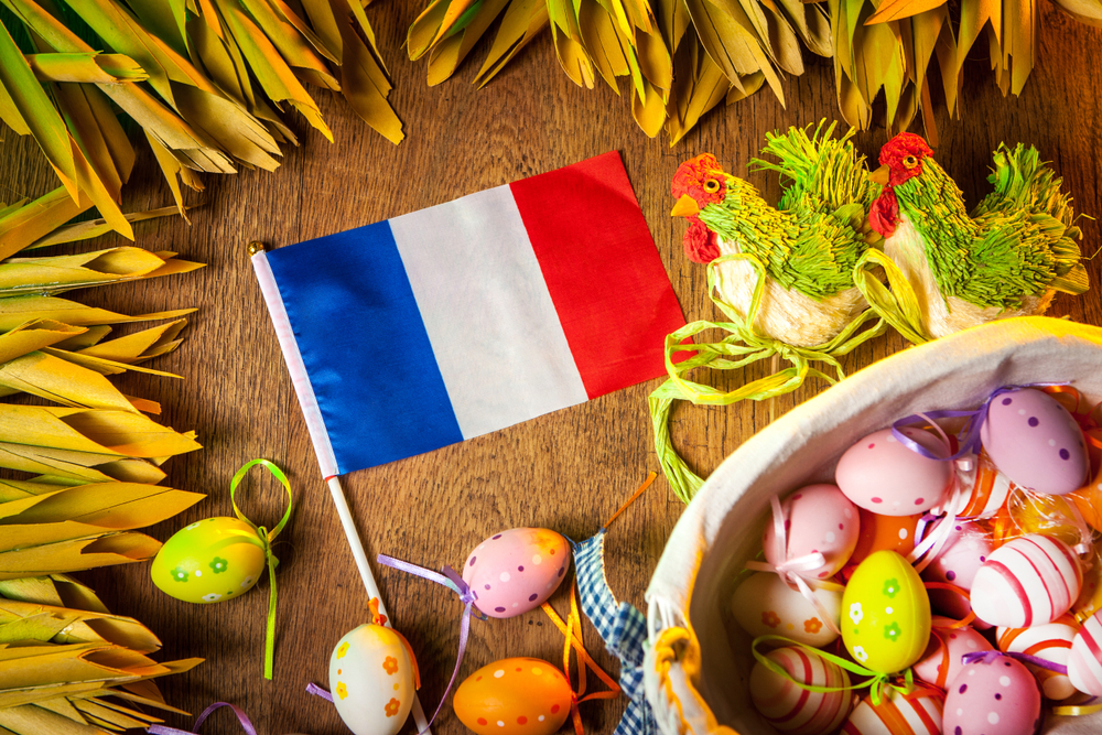 French flag surrounded by Easter eggs.