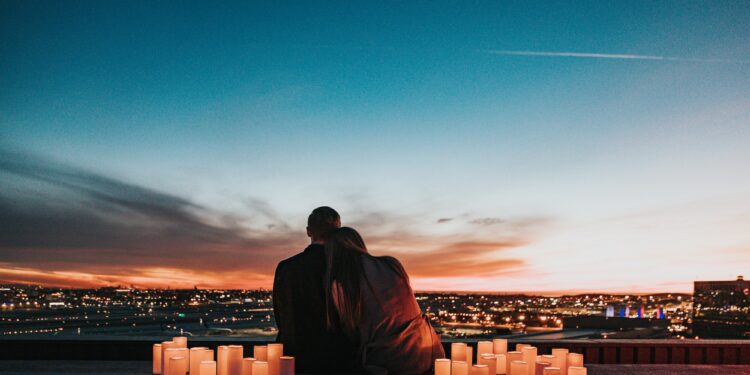 Valentine's day at home on a rooftop with candles