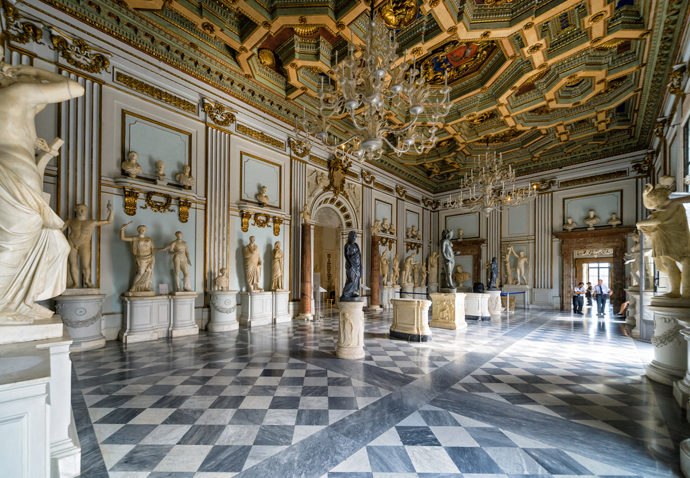 The opulent interior of the The Capitoline Museum, the oldest museum in the world.