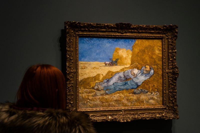 An over the shoulder shot of a woman looking at Van Gogh's The Siesta