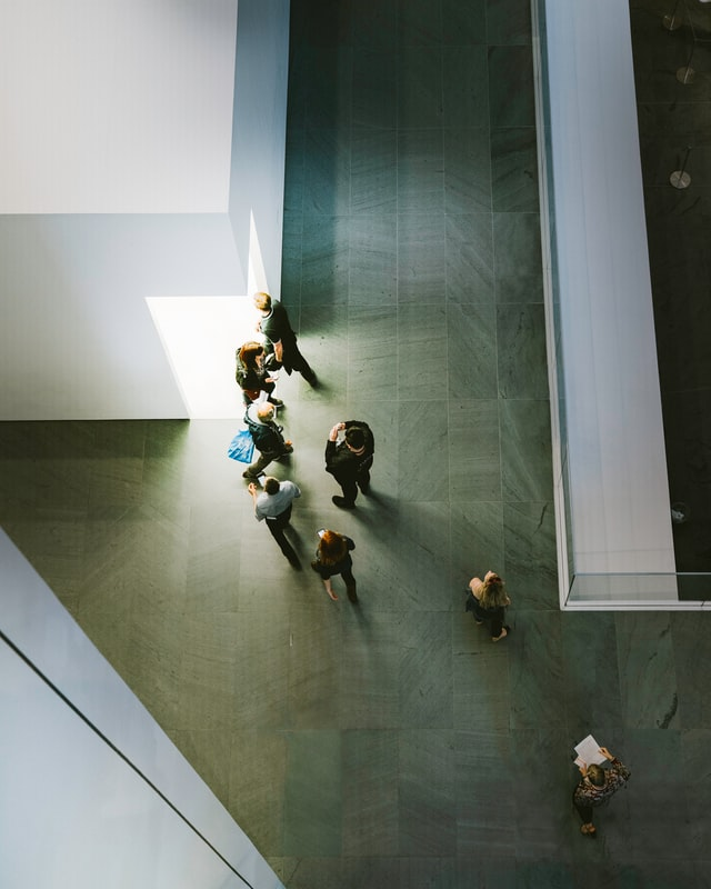 A bird's eye view of guests in New York's MOMA