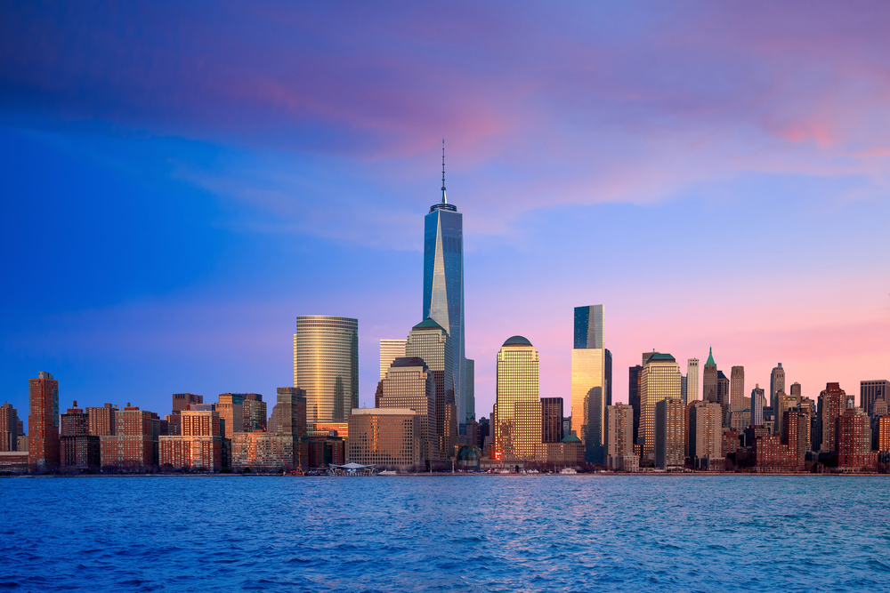 One World Trade Center, home of the One World Observatory, standing out above the New York skyline.