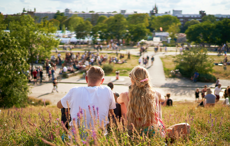 A couple looking over Mauerpark, one of the most romantic things to do in Berlin