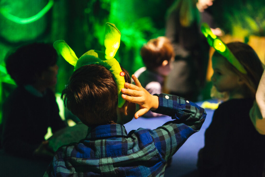 A young child wearing a pair of Shrek ears at Shrek's Adventure in London.