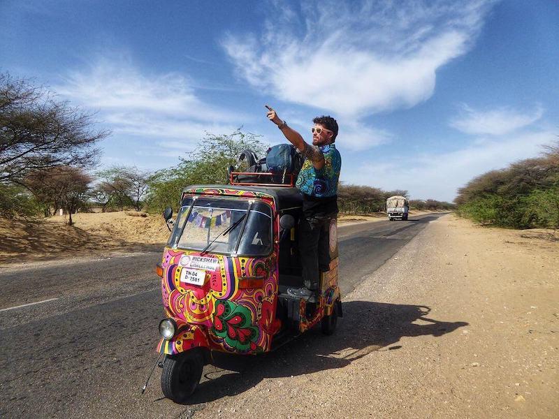 Will Hatton on a Tuk-tuk somewhere in India