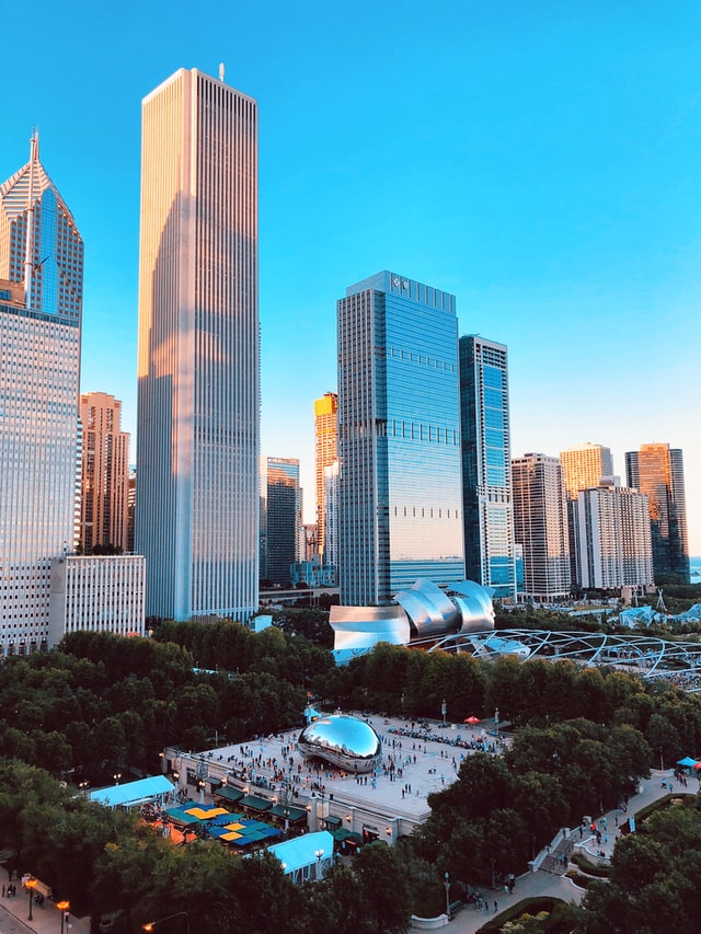 View of Chicago's Millennium Park with Jay Pritzker Pavilion
