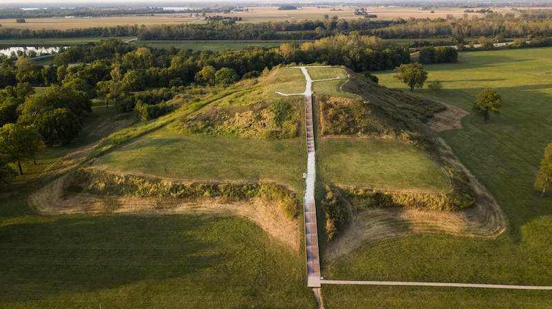 A picture of Monks Mound, a famous historical site in the US