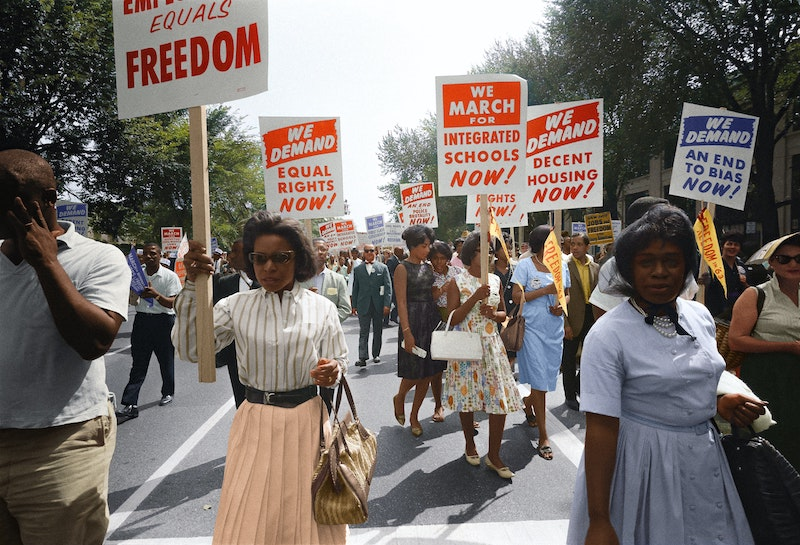 African Americans participating in a civil rights protest