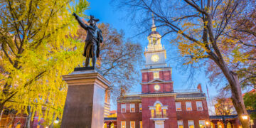 Independence Hall in Philadelphia, a historical site in the US