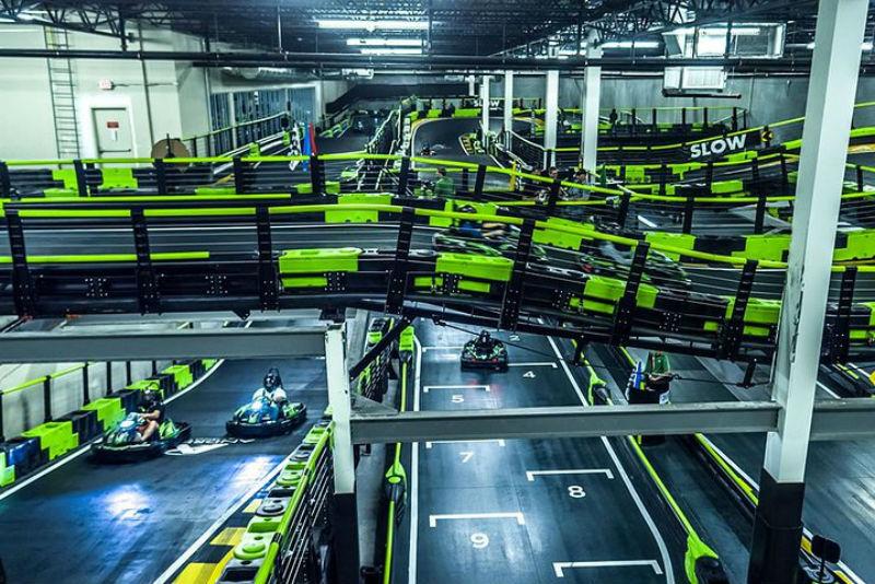 An indoor go-karting track