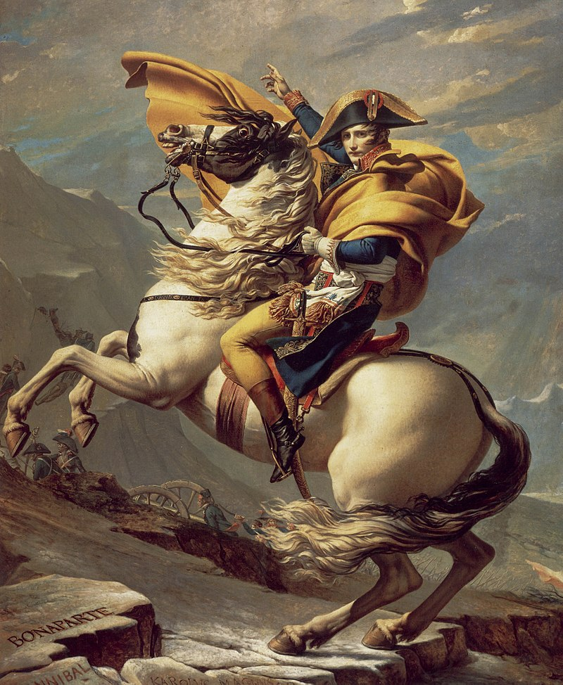 An image of Napoleon on his famous war horse, in a dramatic pose.