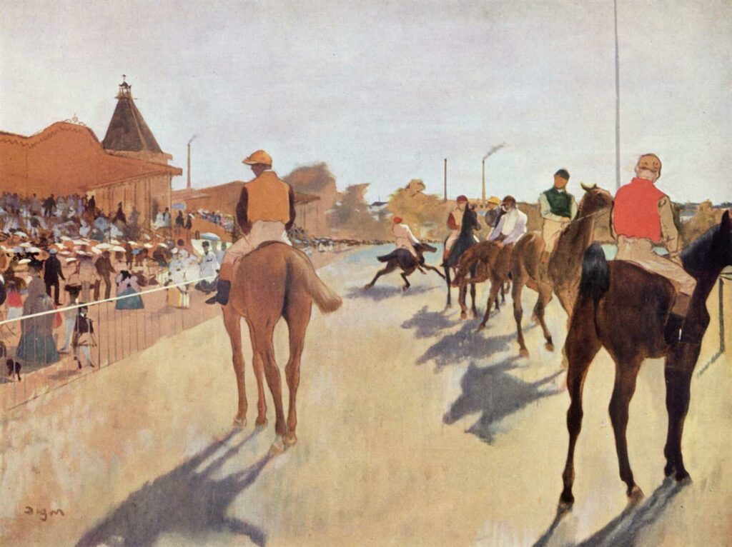 The Parade by Edgar Degas, a painting featuring race horses in the moments before a race.