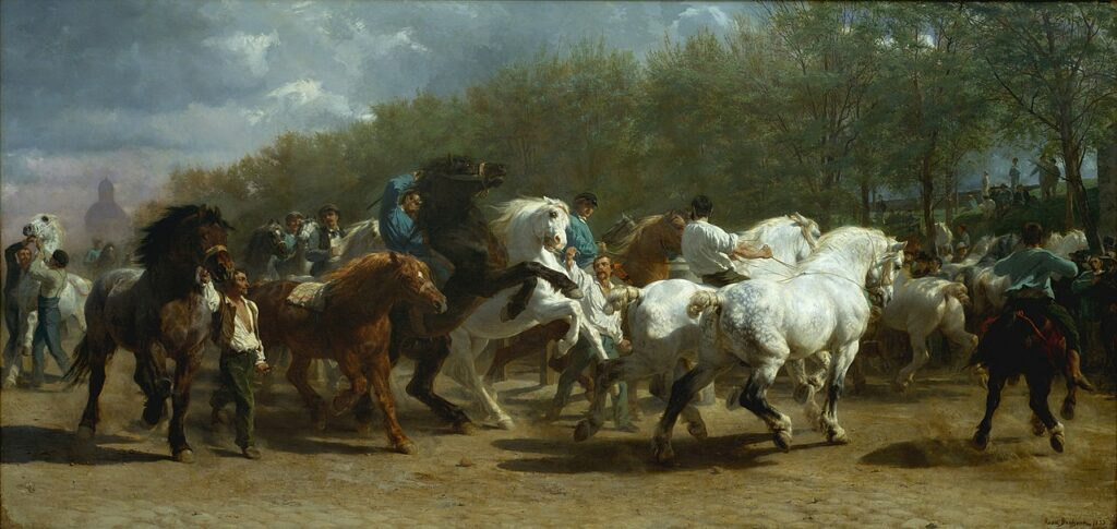 The Horse Fair by Rosa Bonheur, a famous horse painting based on the Parisian horse market.