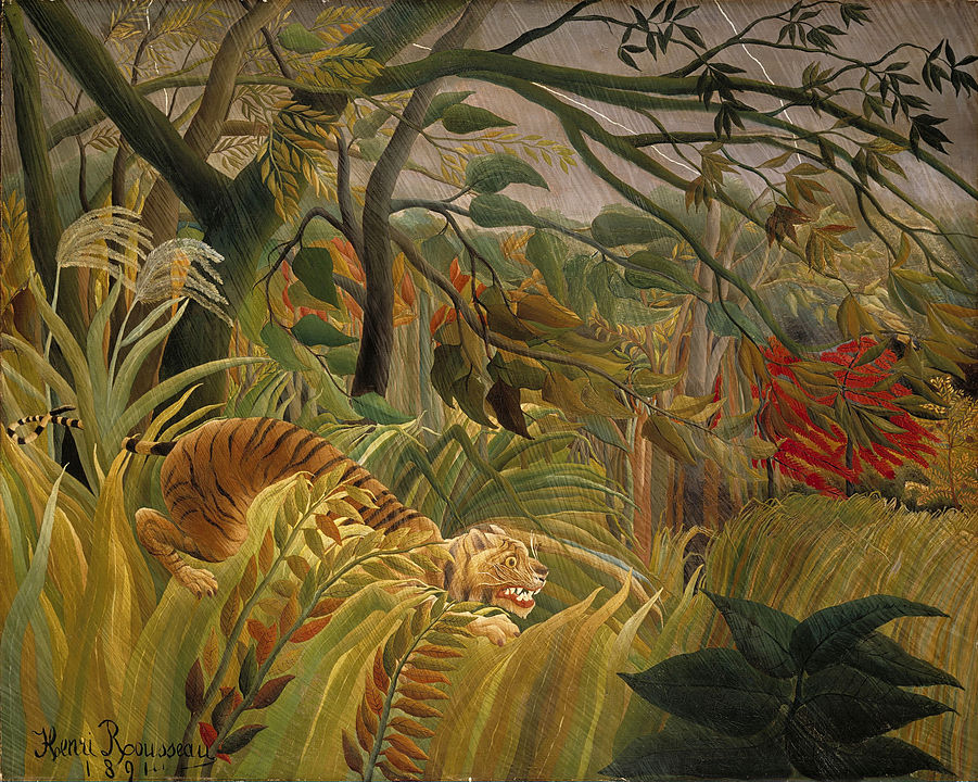 Tiger in a Tropical Storm by Henri Roussea, a famous animal painting featuring a tiger about to pounce on its unsuspecting prey.