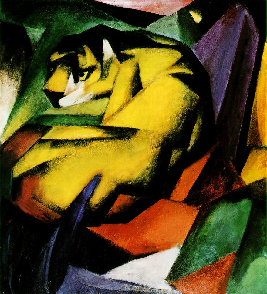 Tiger by Franz Marc, an unconventional tiger painting featuring Cubist techniques.