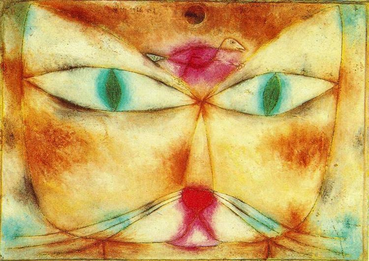 Cat and Bird, a famous cat painting by Paul Klee featuring a cat with a bird on its head.