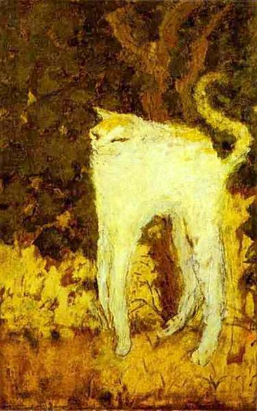 The White Cat by Pierre Bonnard, a famous and humorous painting of a cat with stretched legs arching its back.