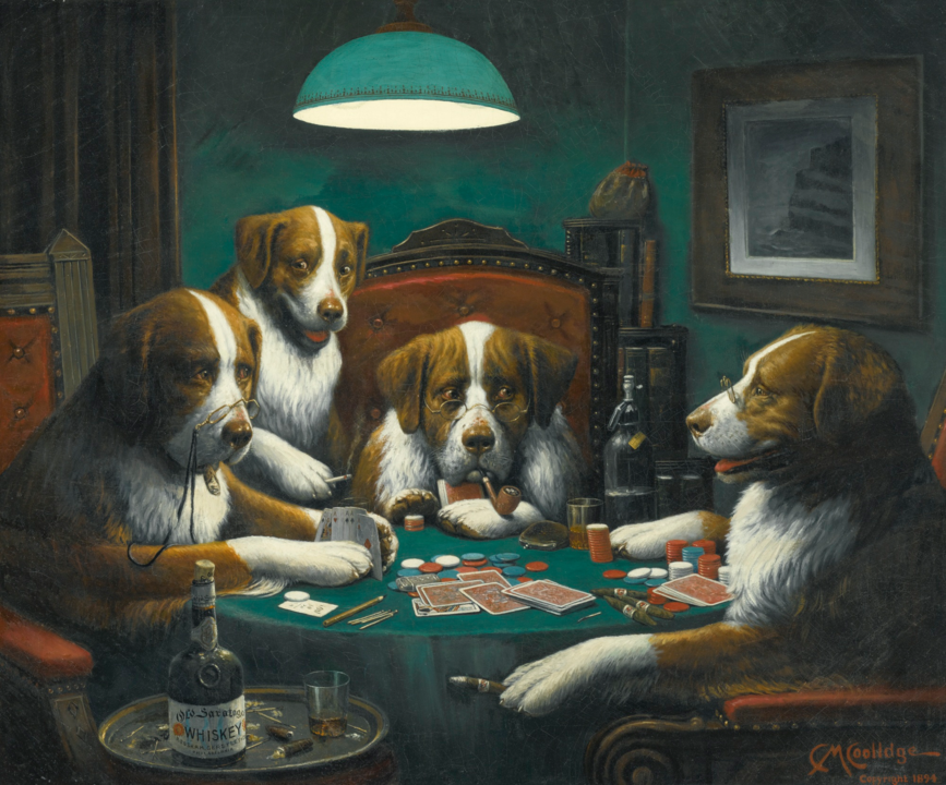 One of the most famous animal paintings of all time, Dogs Playing Poker by Cassius Marcellus Coolidge.