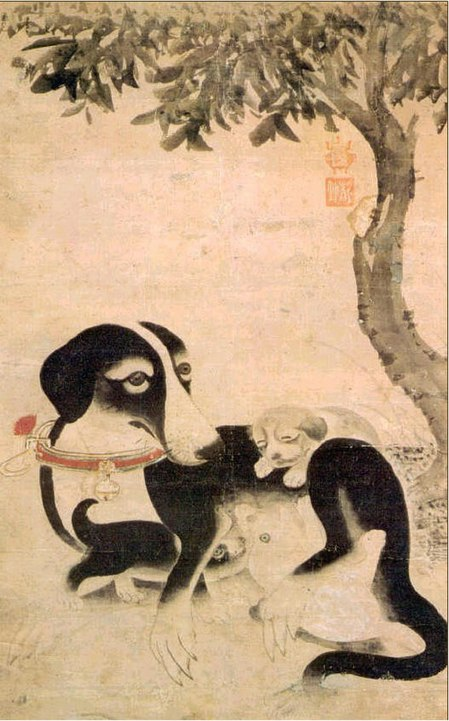 A centuries-old Korean dog painting of a mother dog and her puppies, with a tree in the background.