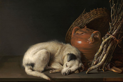 Sleeping Dog by Gerrit Dou, one of the world's most beloved and famous animal paintings.