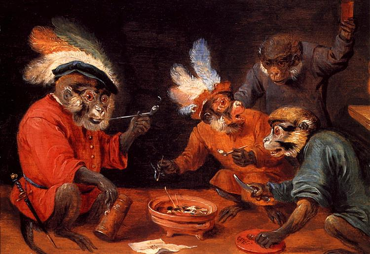 A monkey painting by David Teniers the Younger, featuring monkeys dressed in human clothes.