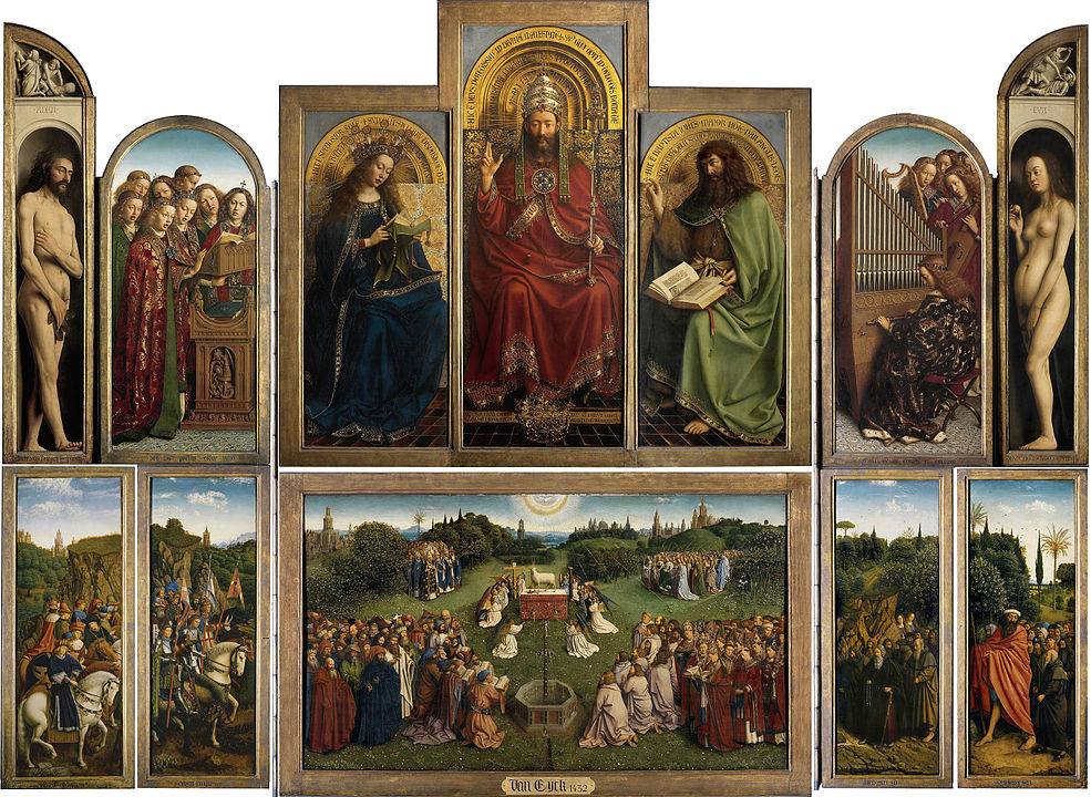 A depiction of the Ghent Altarpiece featuring a small lamb in the centre.