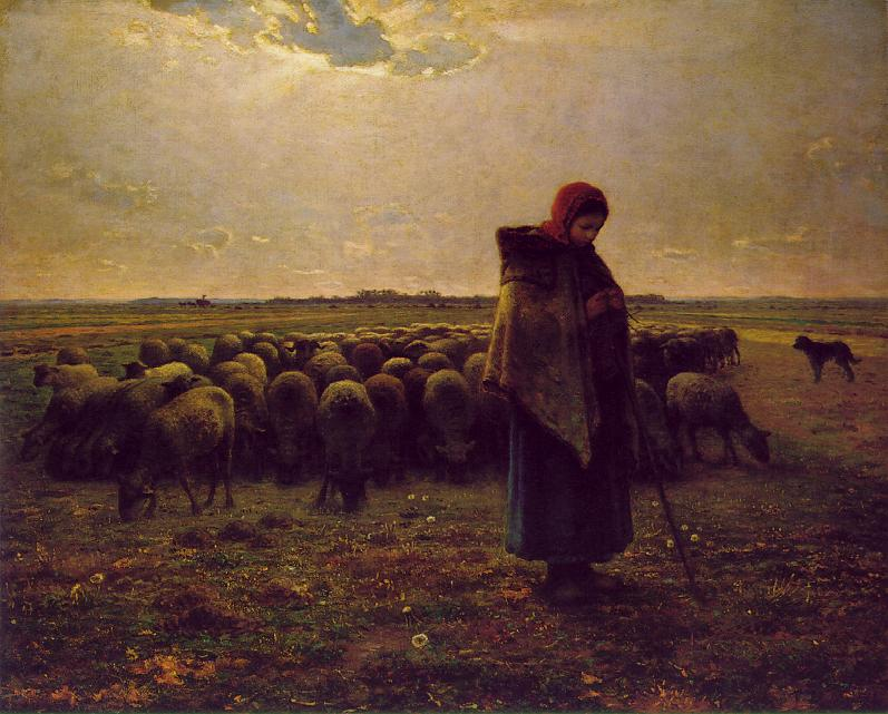 A painting of a lone shepherdess in the field, tending to a flock of grazing sheep.