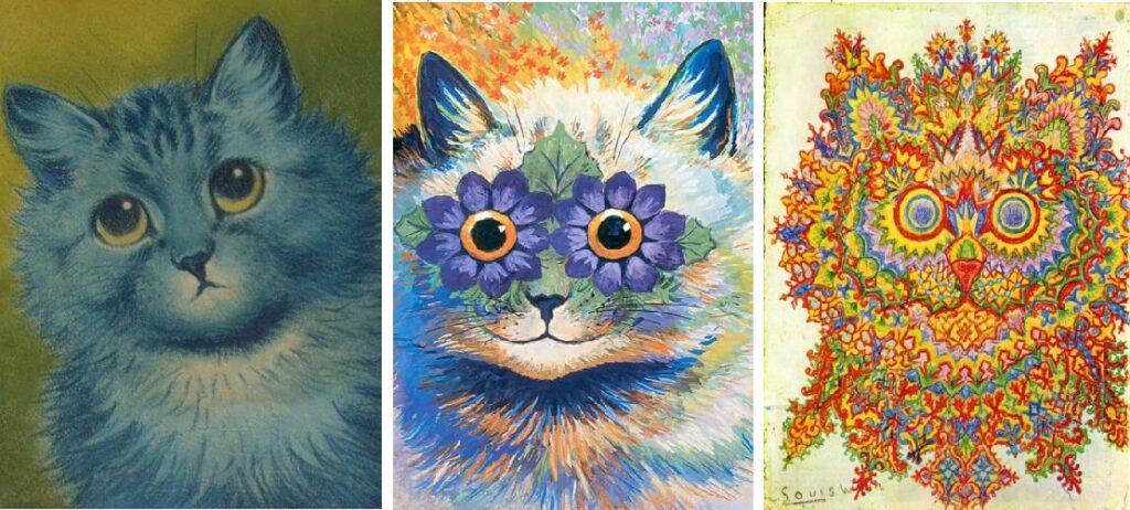 Three famous cat paintings by Louis Wain: on the left, a regular cute cat, in the middle a slightly abstract cat with flowers for eyes, and on the right a move towards total abstraction and fractal art.