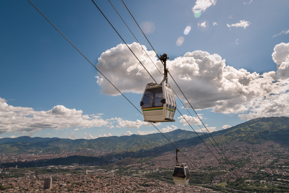 The Medellin cable car rising high above the city