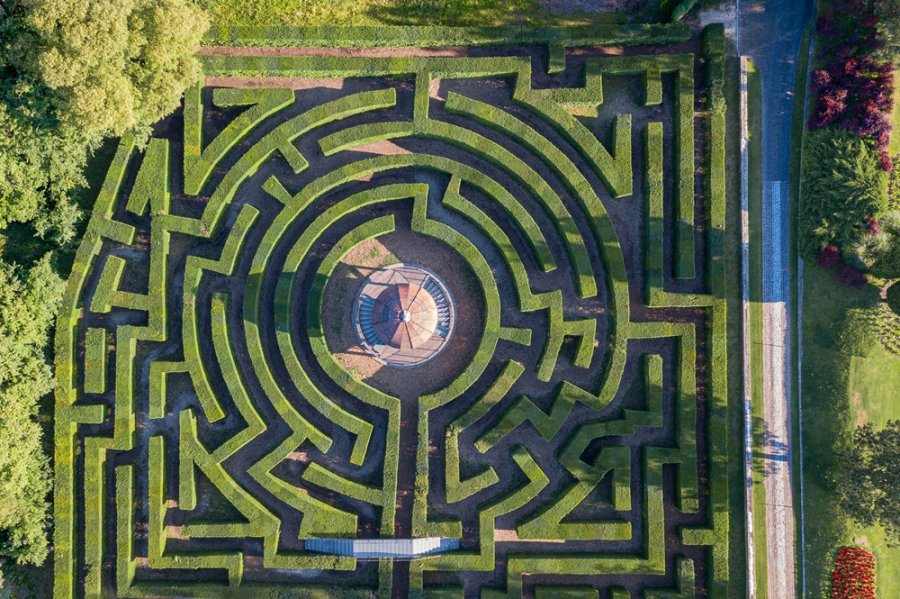 The complex labyrinth seen from above.