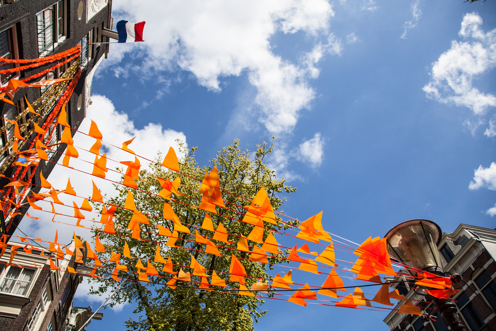 Orange decorations on an Amsterdam street on King's Day