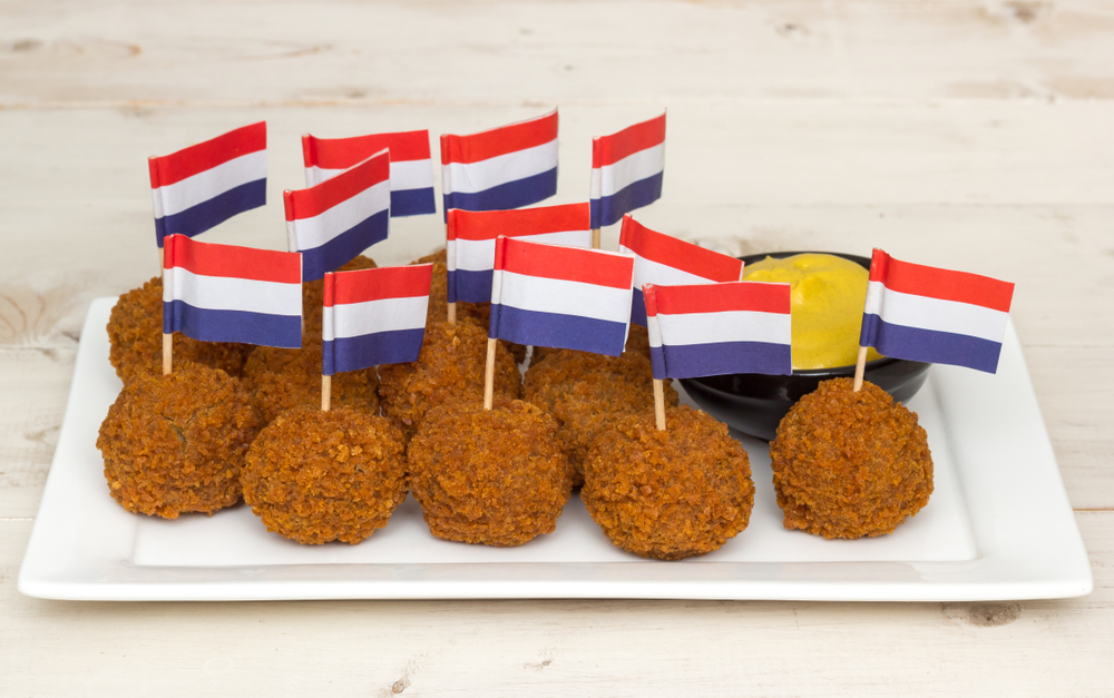 Bitterballen with Dutch flags. Ideal snacks for King's Day 2021 at home