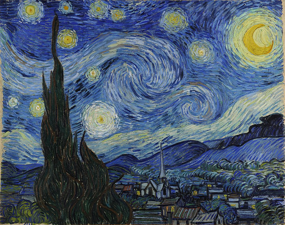 'The Starry Night', arguably Vincent van Gogh's most famous painting: a darkly silhouetted church against a night sky full of spirals.