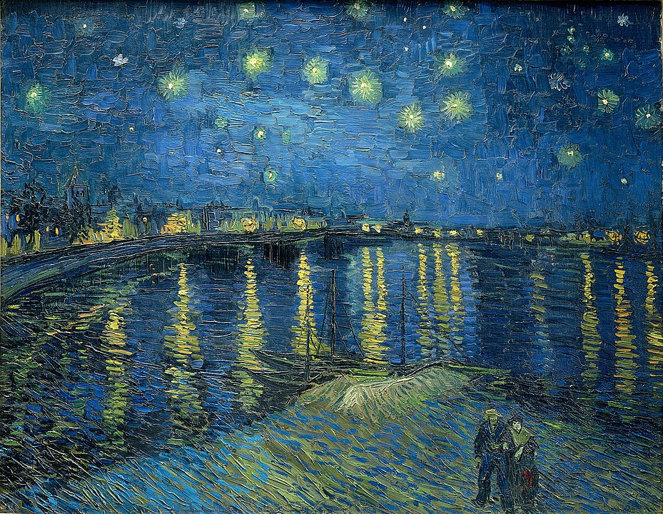 Starry Night Over the Rhône, one of Van Gogh's best-known paintings: a pair of lovers walks in the foreground with an illuminated sky and waterline in the background.