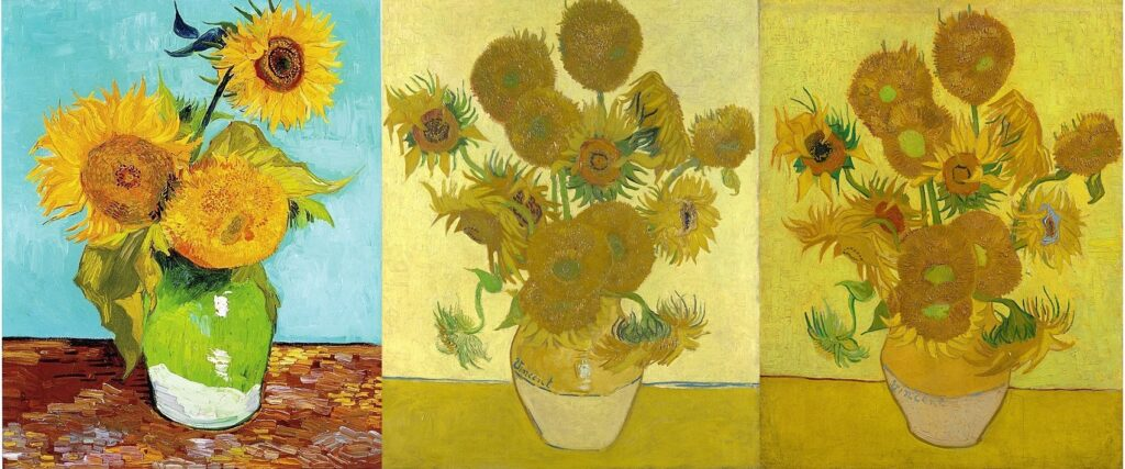Three examples of Van Gogh's  sunflower paintings, featuring blooming sunflowers in vases.