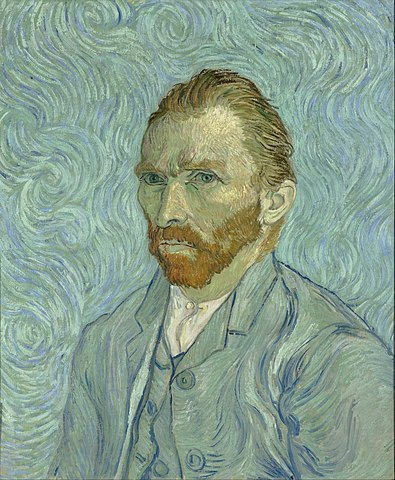 A self-portrait of Vincent, featuring hallucinatory swirls and an intense, brooding look.