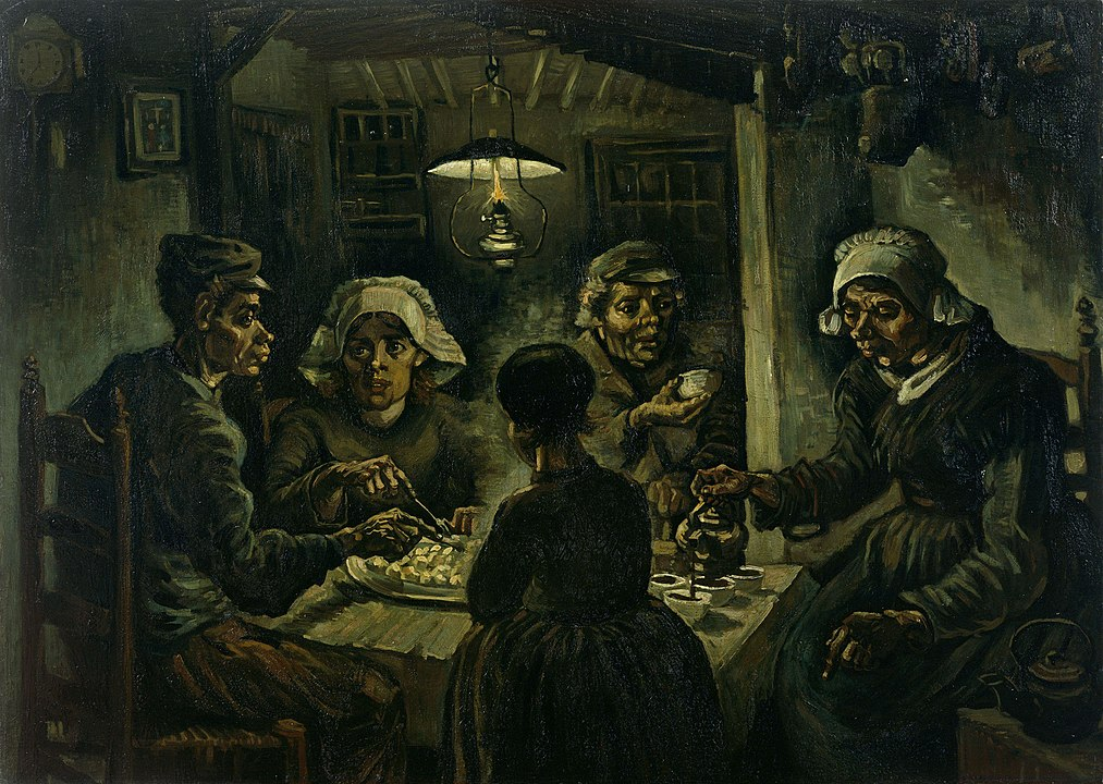 'The Potato Eaters', depicting a peasant family at the dinner table in a dimly-lit home.