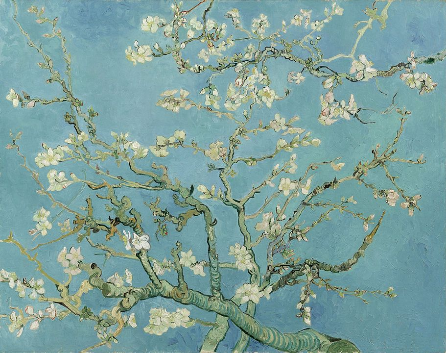 Van Gogh's Almond Blossoms, an image showing a tree with scenic blooming flowers.