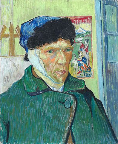 A self-portrait by Van Gogh, showing a bandage over his infamously wounded ear.