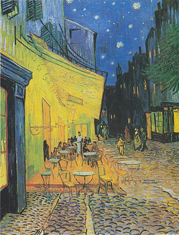 Café Terrace at Night, a painting by Van Gogh depicting an illuminated evening scene in Arles.