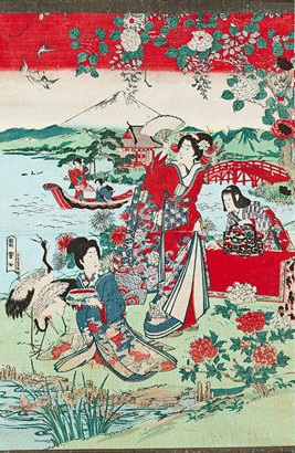 A 19th-century Japanese print featuring traditional Japanese geishas.