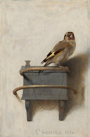 The Goldfinch by Carel Fabritius, one of the most famous bird paintings in existence, featuring a finch that's chained to its perch.