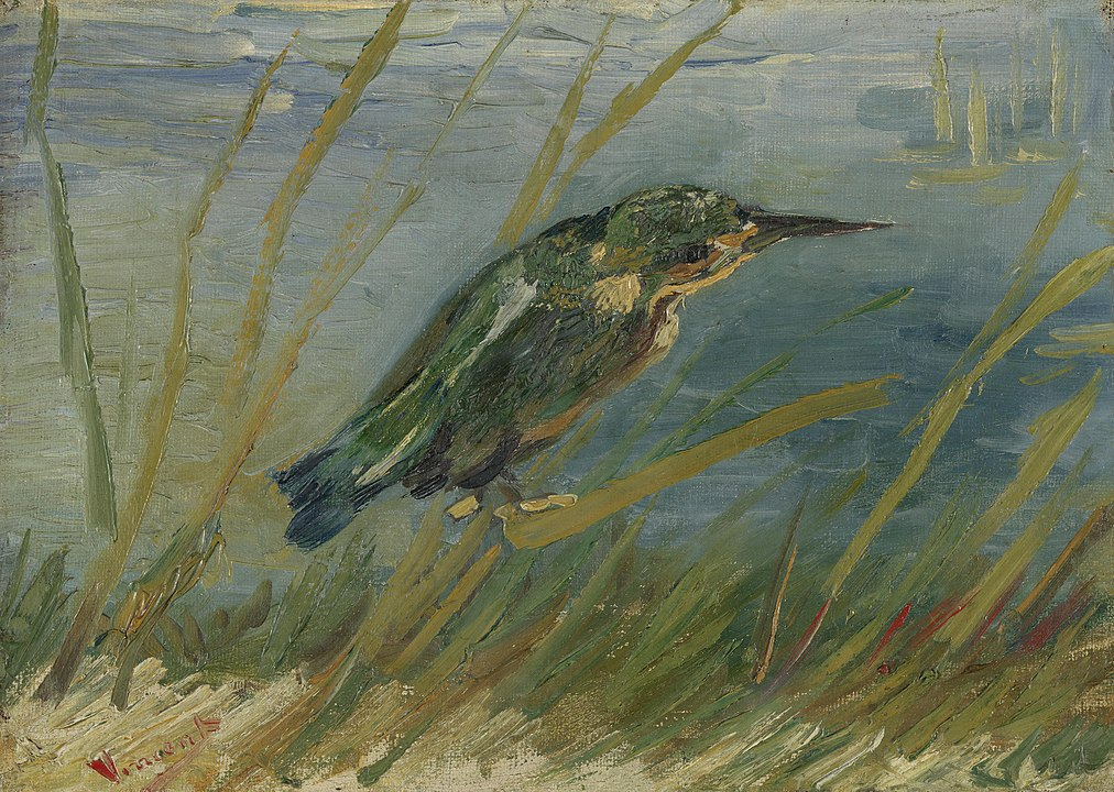 The Kingfisher by Vincent van Gogh, a painting of a bird perched by the riverside.