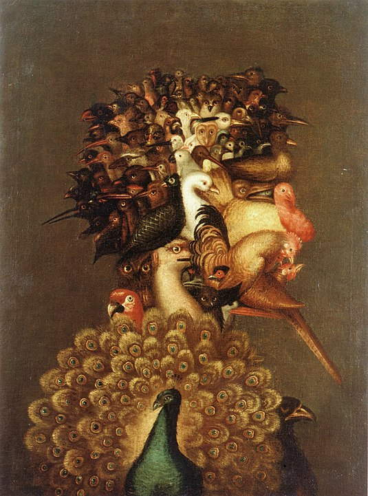 This artwork by Arcimboldo features a human portrait made entirely out of different species of birds.