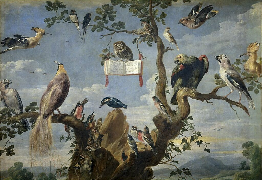 Concert of Birds by Frans Snyders, featuring an owl leading a group of other birds in what looks like a musical performance.