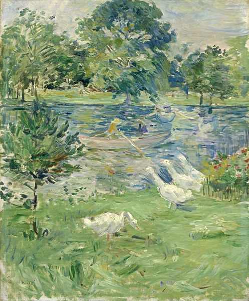 Girl in a Boat with Geese by Berthe Morisot, featuring the geese in the foreground looking out over the river in which a girl is rowing her boat.